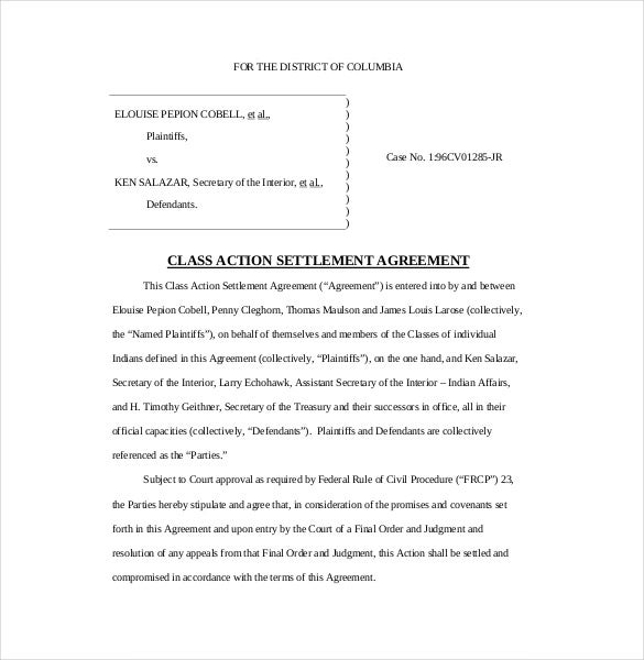 5 Settlement Agreement Templates Pdf Free Premium Templates