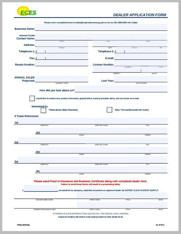 clean energy dealer application form template