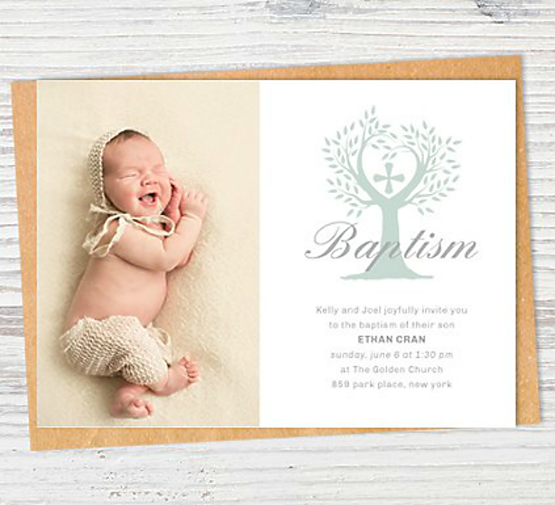 Clean Rustic Baptism Invitation Template