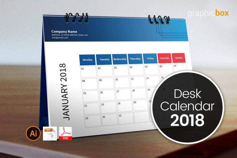 clean table calendar template 788x525