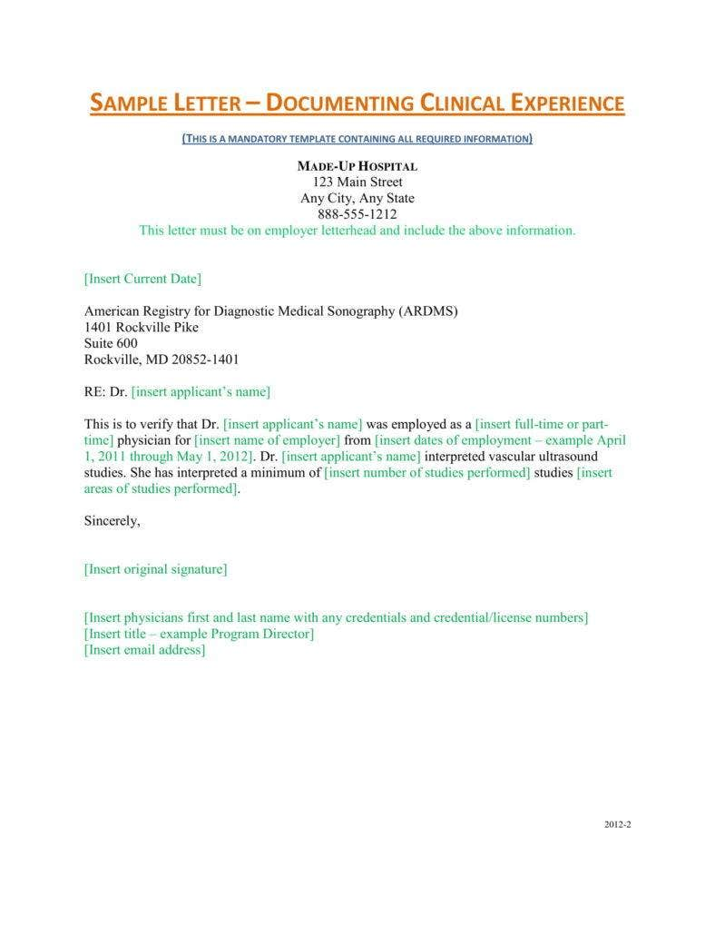 Clinical Experience Letter Sample