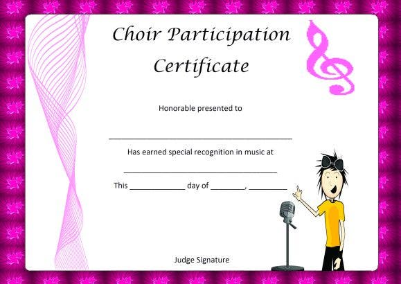 clipart choir participation certificate template