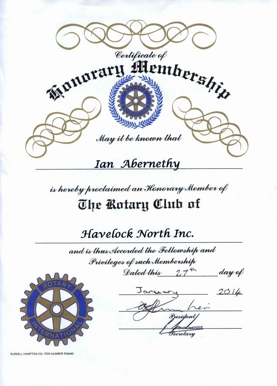 club honorary membership certificate template