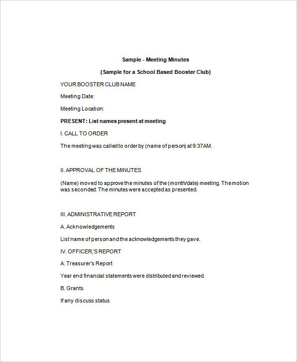 club-minutes-of-meeting-sample-template
