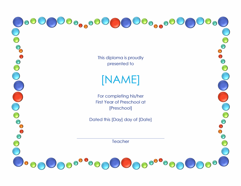 colored dots preschool certificate template