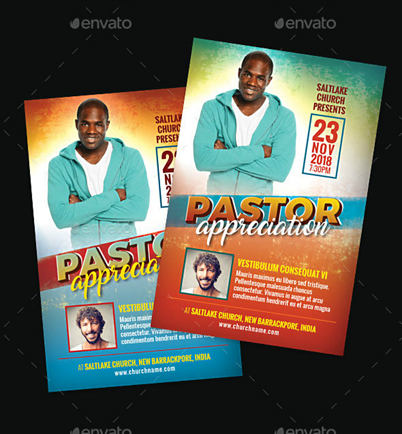 Colored Gradient Church Pastor Appreciation Template