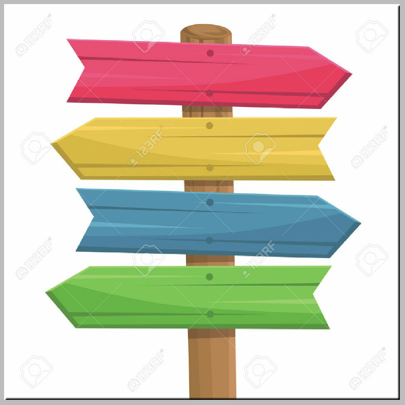 Colored Wooden Directional Signs Template
