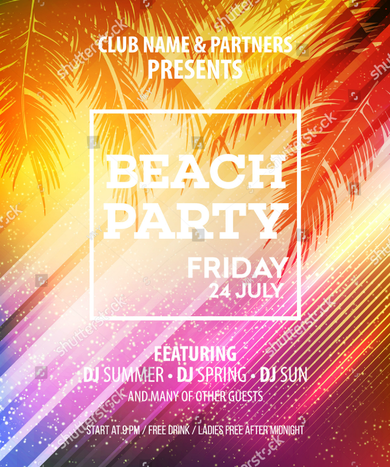 colorful glare beach party flyer 788x945