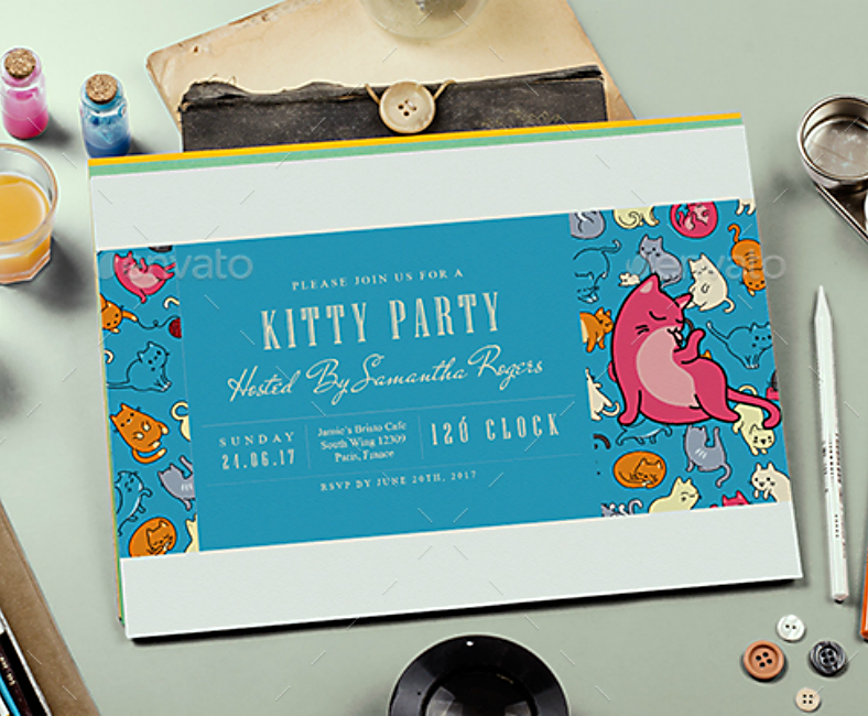 Colorful Kitty Cats Party Invitation Template