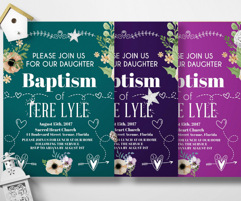 Colorful Minimalist Baptism Invitation Template