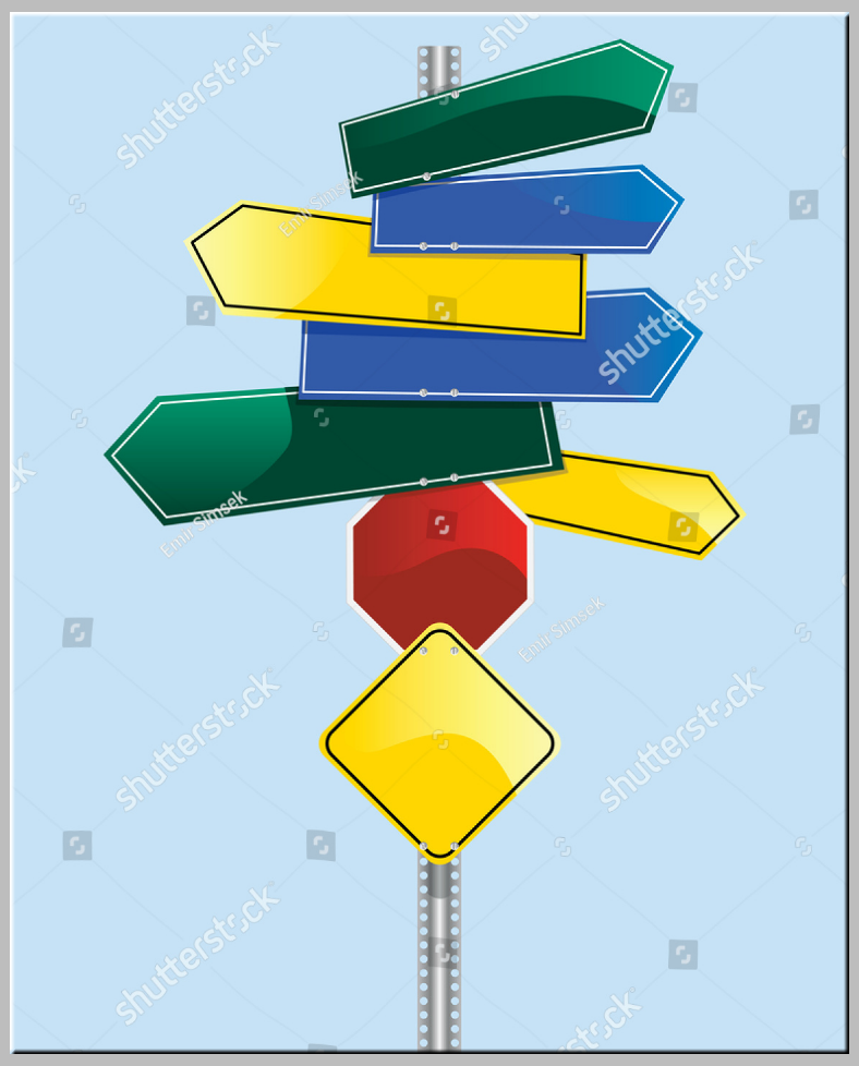 Colorful Multidirectional Blank Signs Template