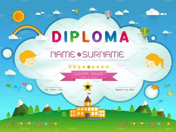 colorful preschool graduate certificate