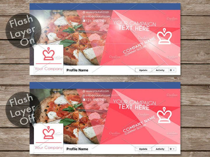 colorful restaurant timeline cover template