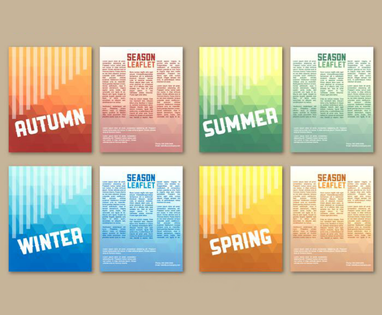 colorful seasonal leaflet flyer templates 788x650