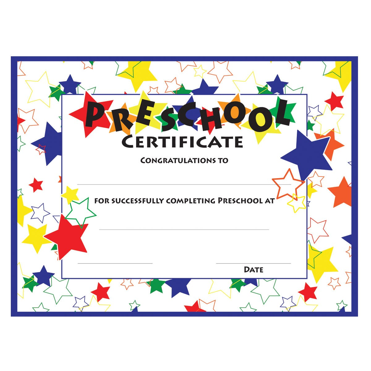 colorful stars preschool certificate template - Preschool Certificate Template