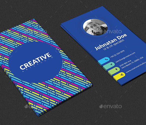 colorful vetical business card template