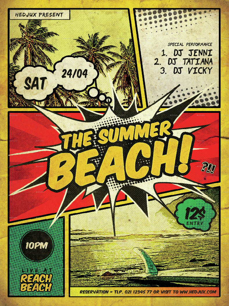 Comic Style Beach Flyer Template