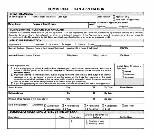 commercial loan application template