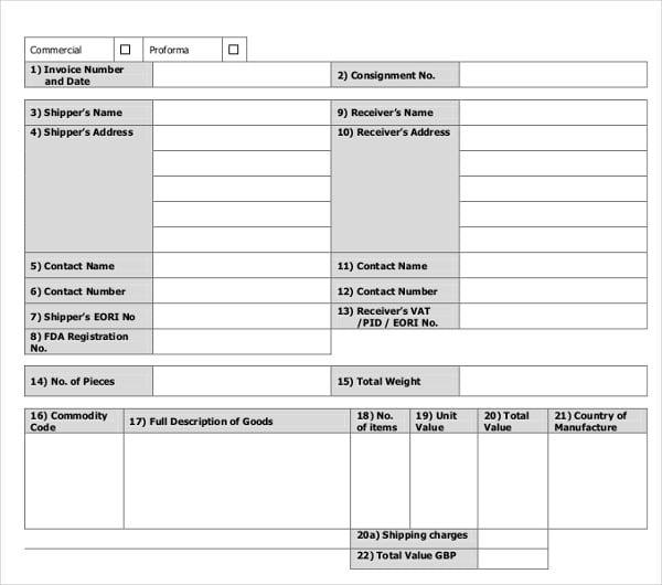 12 Proforma Invoice Templates Pdf Doc Excel Free Premium