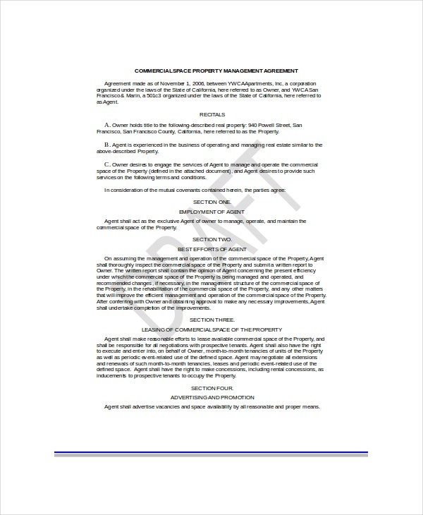 commercial space property management agreement