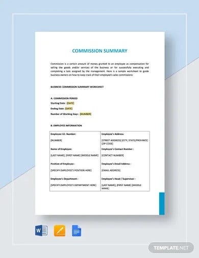 commission summary template