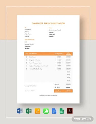 computer service quotation format template