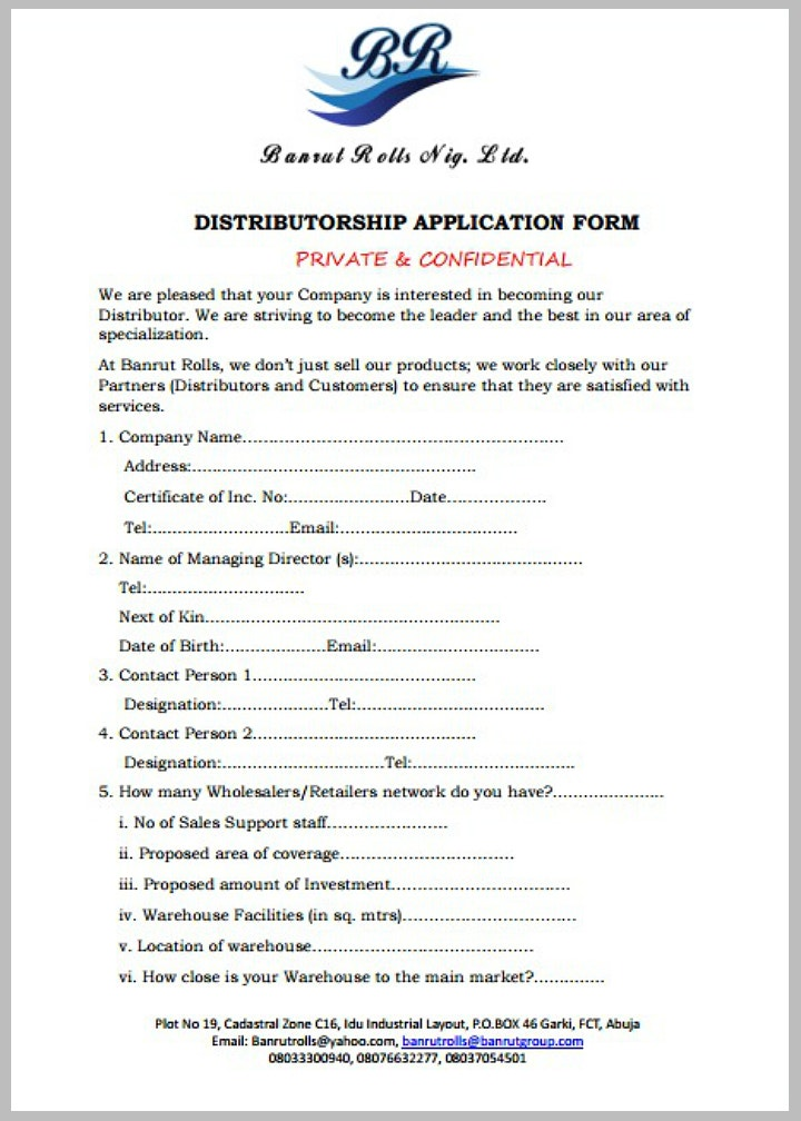 confidential-distributor-application-form-template