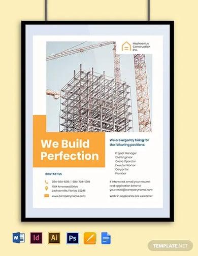 construction job advertisement flyer template