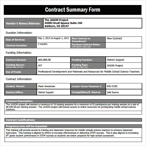contract-sample-summary-form-template