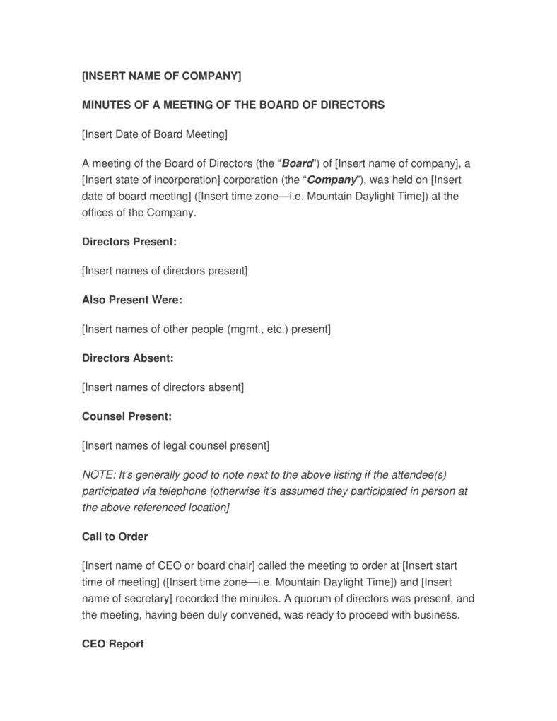 Corporate Minutes of a Meeting Template