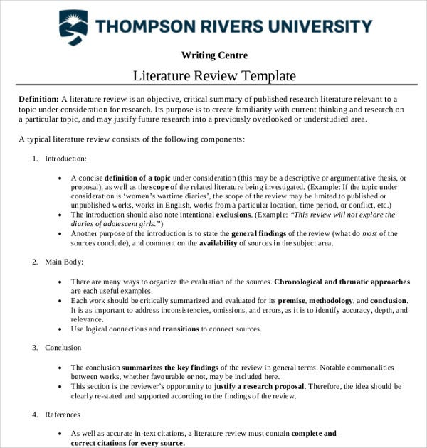 critical literature review template