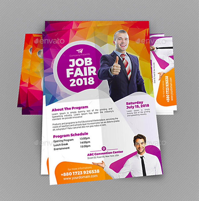 Crystallic Background Job Fair Flyer Template
