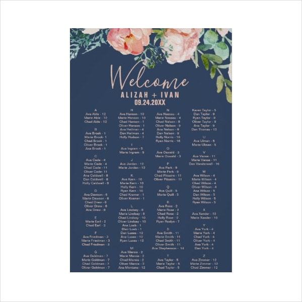 Cute Navy Seating Chart Design