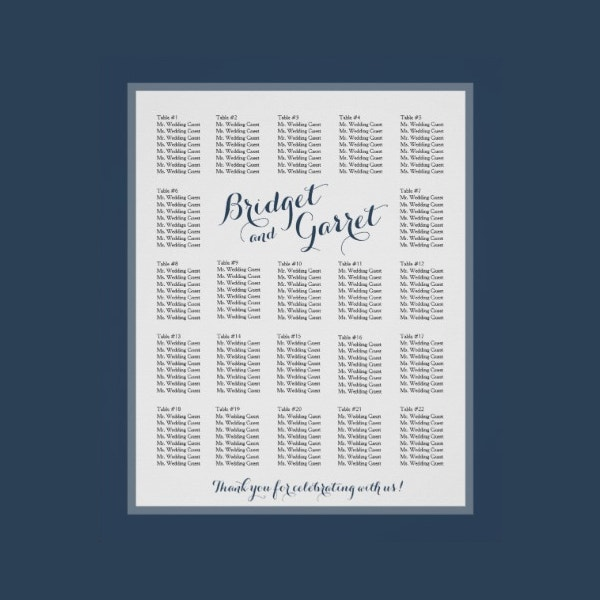 Cute Navy Wedding Seating Chart