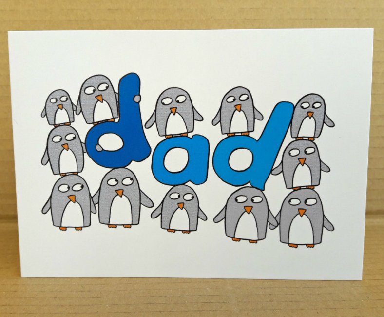 Cute Penguins Dad Birthday Card Template