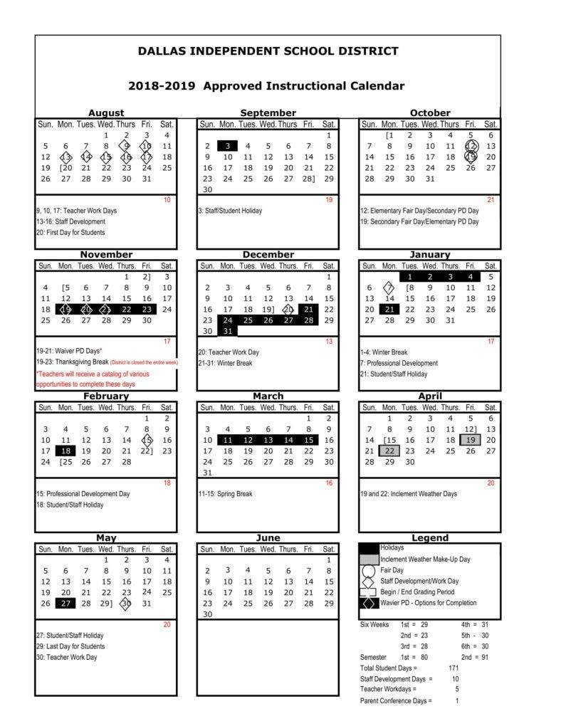 dallas-independent-school-distrit-approved-calendar-2018-2019-1