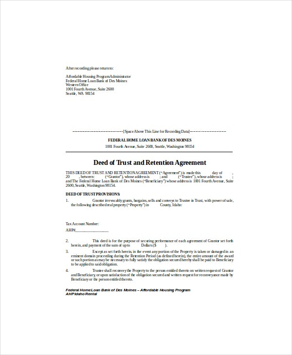 deed of trust and retention agreement