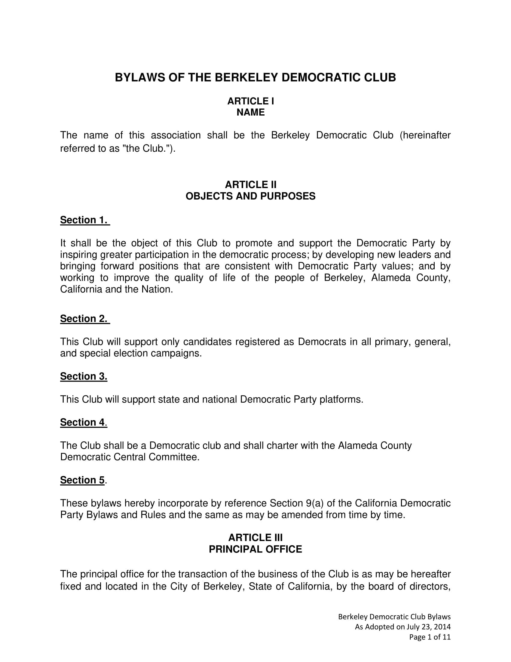 democratic club bylaws sample