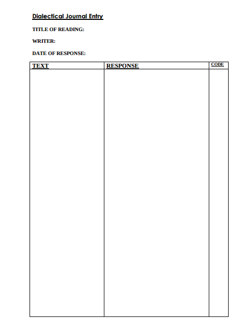 8 Dialectical Journal Templates Pdf