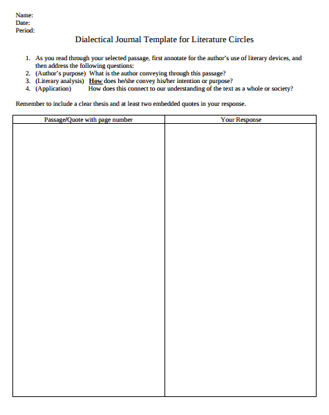 Dialectical Journal Template for Literature Circles