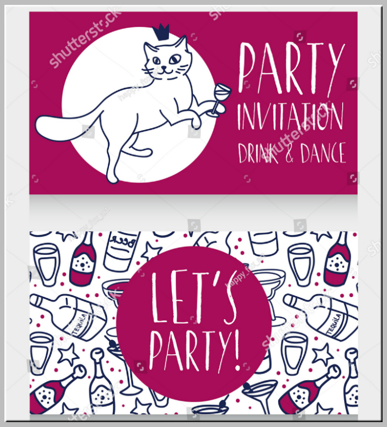 Doodled Kitty Cat Party Invitation Template