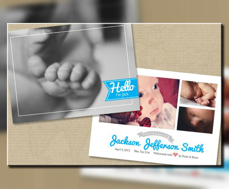 dramatic baby announcement postcard template 788x650