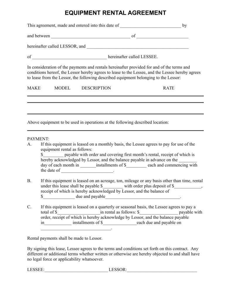 simple equipment rental agreement template free equipment lease form parlo buenacocina - Simple Equipment Rental Agreement Template Free