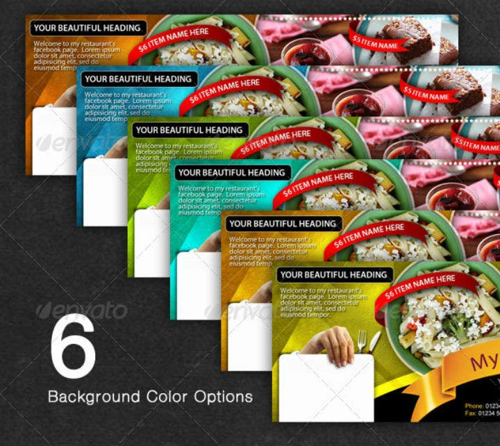 editable restaurant fb timeline cover template