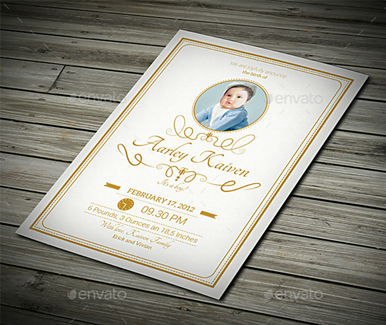 Elegant Baby Announcement Postcard Template