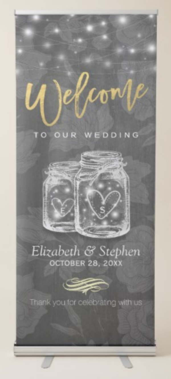 elegant-mason-jar-string-lights-chalkboard-wedding-retractable-banner