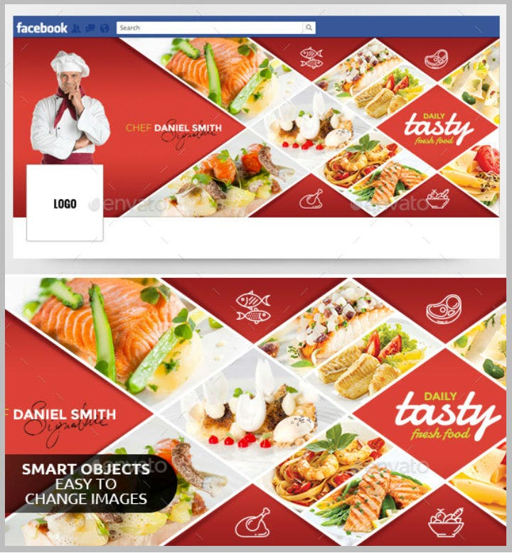 elegant restaurant facebook timeline cover template