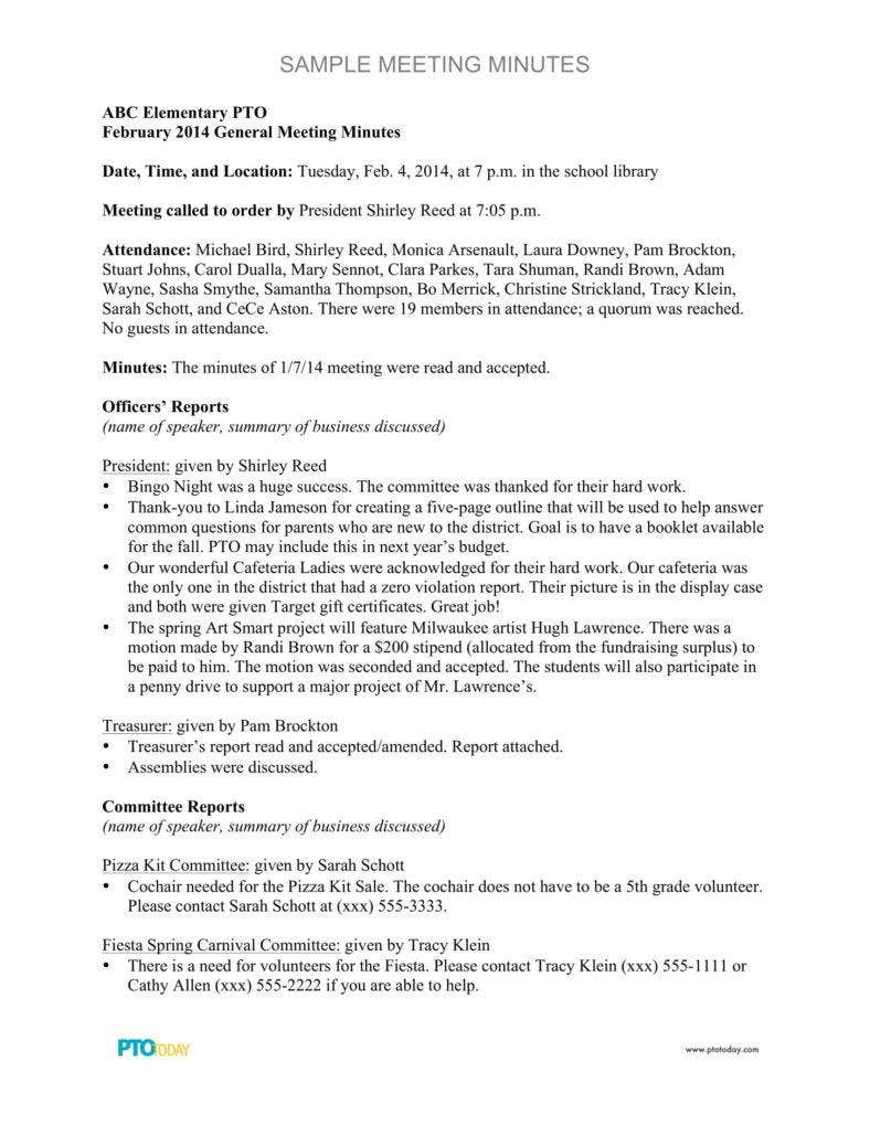 elementary meeting minutes sample 788x1020