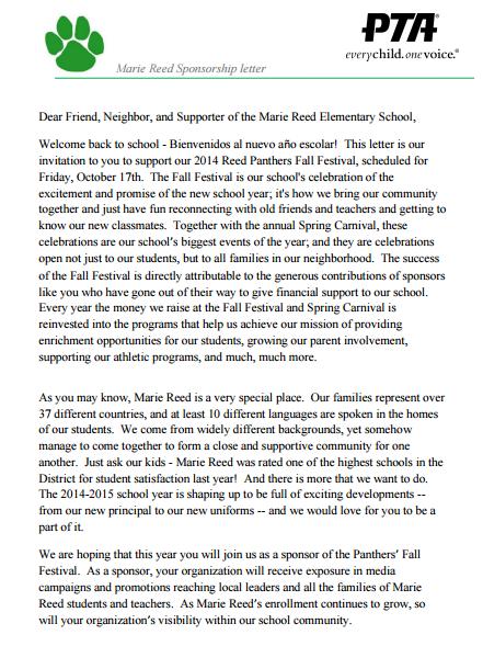 elementary school sponsorship letter