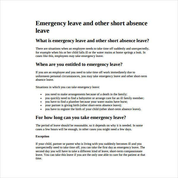 emergency leave letter sample